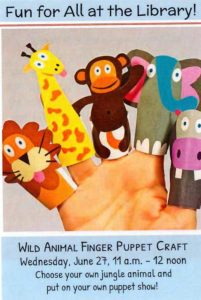 Wild Week at the Library - Jungle Animal Finger Puppet Craft | Children's Events @ Fall River Public Library - Main | Fall River | Massachusetts | United States