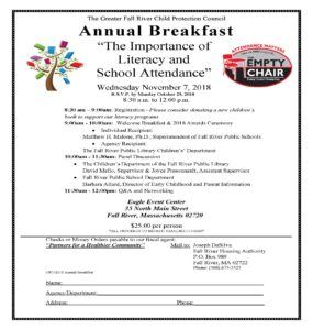 The Greater Fall River Child Protection Council Annual Breakfast: The Importance of Literacy and School Attendance @ Eagle Event Center | Fall River | Massachusetts | United States