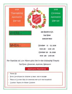 Thanksgiving and Christmas Assistance Sign-Ups @The Salvation Army @ The Salvation Army | Fall River | Massachusetts | United States