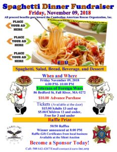 Spaghetti Dinner Fundraiser @ Veterans of Foreign Wars | Fall River | Massachusetts | United States