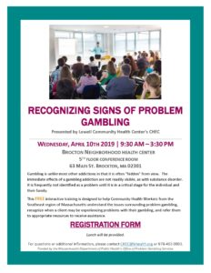 Recognizing Signs of Problem Gambling @ Brockton Neighborhood Health Center, 5th Floor Conference Room