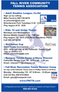 Fall River Community Tennis Association | Summer Tennis Camp w/Steve Charest @ Fetherdic Tennis Club