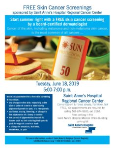 FREE Skin Cancer Screenings Sponsored by Saint Anne's Hospital Regional Cancer Center @ Saint Anne's Hospital Regional Cancer Center