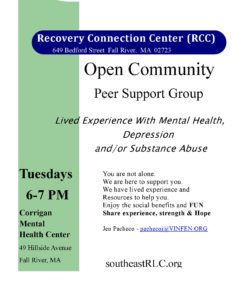 Recovery Connection Center (RCC): Open Community Peer Support Group @ Corrigan Mental Health Center