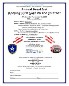 The Greater Fall River Child Protection Council presents: Annual Breakfast - Keeping Kids Safe On The Internet @ Fall River Boys & Girls Club